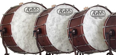 "Adams orchestral bass drums. 28"",32"",36""-40"". On choice tilting, free-suspended or X-frame stands."