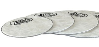 "Adams Fibreskyn bass drum heads 28"",32"",36"" & 40"". Evans Strata bass drum heads 28"",32"",36""&d 40""."