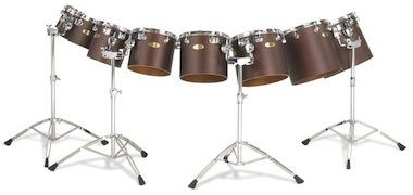 "Pearl Concert and Philharmonic series toms. 6""-16"" Mahogany ply shells"