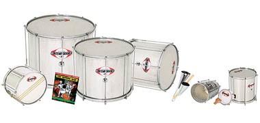 Gope, Contemporanea sets for samba. Surdos, repinique, caixa, tambourim, samba whistles and DVD