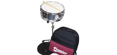Premier Student snare drum back pack kit. Snare, stand, pad and sticks.