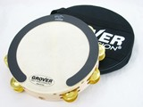 "Grover 10"" Double Row tambourine dimpled brass jingles with Bag and Roll Ring"