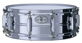 Pearl 14x5 Stainless Steel shelled snare drum.