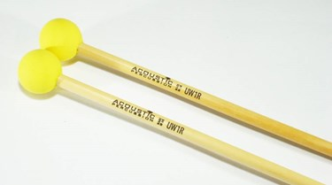 Acoustic Percussion Unwound Series UW1R hard rubber mallet on Rattan (pr)