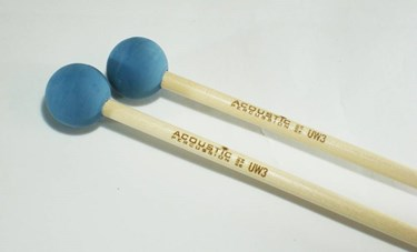 Acoustic  UW3B Unwound Series medium rubber mallets (Blue)- birch handles (pr)