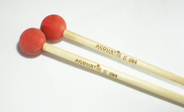Acoustic  UW4B Unwound Series soft  rubber mallets (Red)- birch handles (pr)