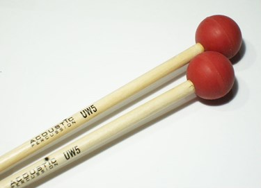 Acoustic  UW5B Unwound Series extra soft  rubber mallets (Red)- birch handles (p