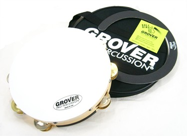 """Grover 10"""" Double Row SV tambourine  Brass/ Silver jingles with Bag and Roll Rin"""