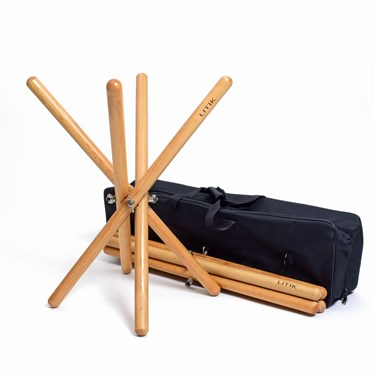 Litik 2pc Baroque Timp Stands set with carry bag- beech wood