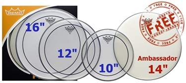 "Remo Pro Pack (10"", 12"", 16"" Pinstripe clear + free 14"" Ambassador coated)"