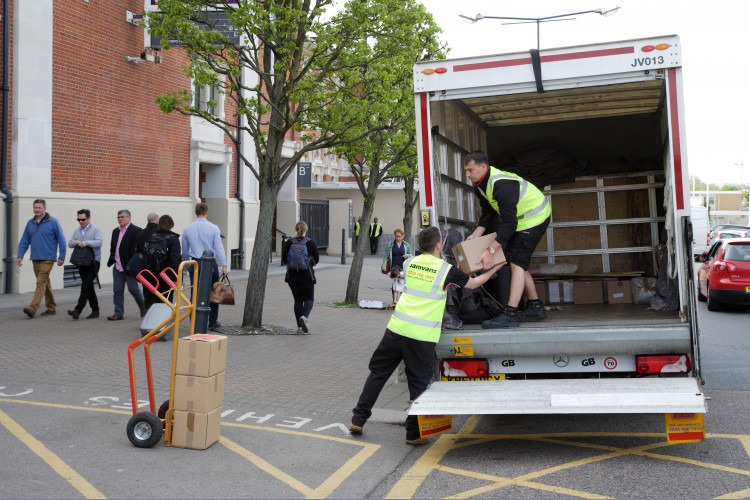Unloading removals from a van