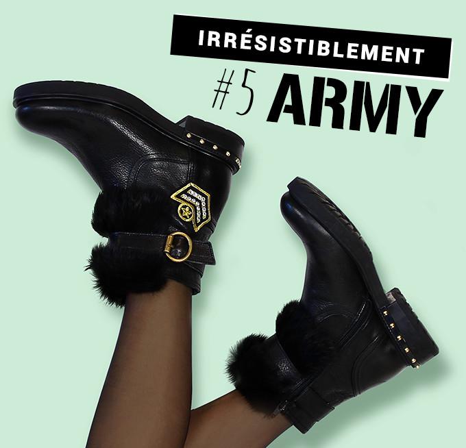 Irrésistiblement army : boots Kanna Carmina noir