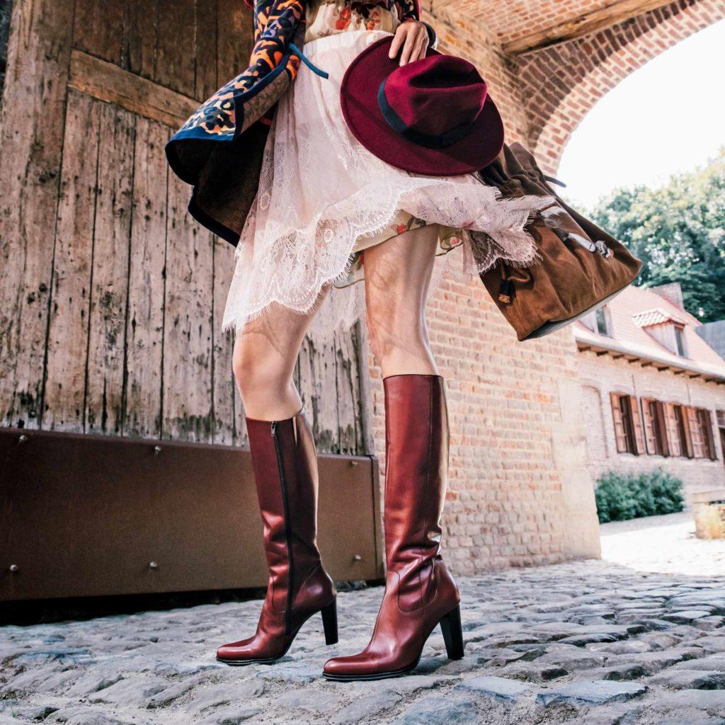 Chaussures rouges : bottes en cuir Muratti