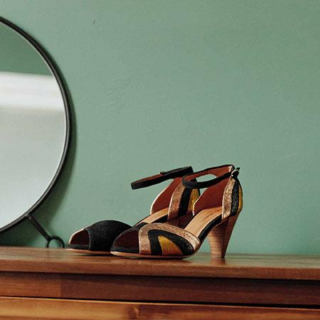 Cérémonie : sandales en cuir glitter Les Venues