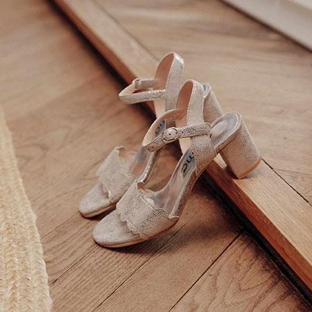 Cérémonie : sandales en cuir métallisé Myma