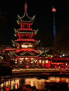 The Chineese tower at night(parcul tivoli)