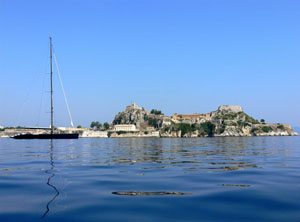 Corfu fort from boat