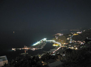 Mykonos new port night view