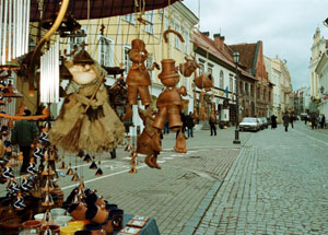 A stand with traditional Lithuanian craft on a street in Vilnius