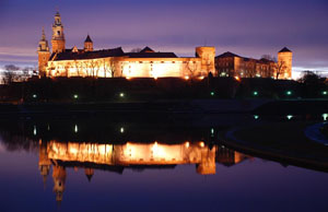 The Royal Castle Wawel with the reflection in the Vistula River