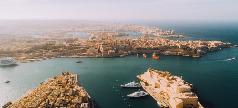 Aerial view of Three Cities overlooking Valletta Harbour
