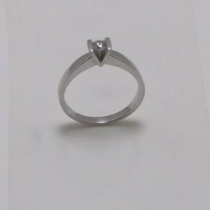 Μονόπετρο δακτυλίδι λευκό Κ18 χρυσό -mrg001