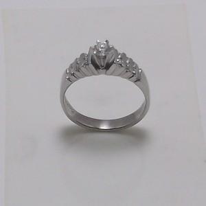 Μονόπετρο δακτυλίδι λευκό Κ18 χρυσό -mrg002
