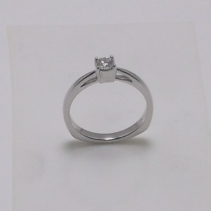 Μονόπετρο δακτυλίδι λευκό Κ18 χρυσό -mrg004