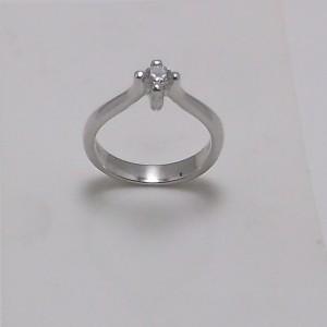 Μονόπετρο δακτυλίδι λευκό Κ18 χρυσό -mrg011