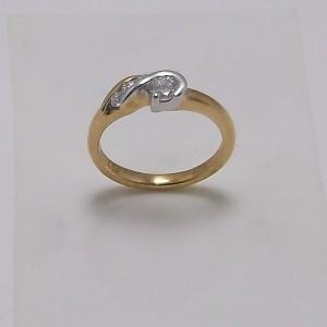 Δακτυλίδι κίτρινο + λευκό Κ18 χρυσό - rgg013