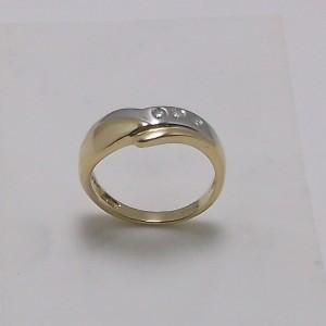 Δακτυλίδι κίτρινο + λευκό Κ18 χρυσό - rgg020