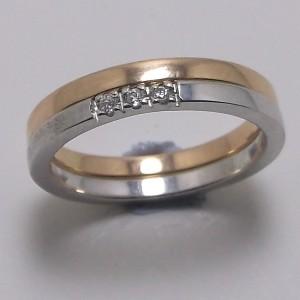 Βέρες Γάμου ροζ και λευκό K9 χρυσό - wrg9012