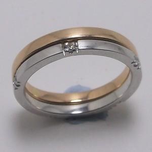 Βέρες Γάμου ροζ και λευκό K9 χρυσό - wrg9013