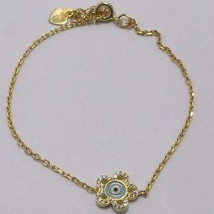 Βραχιόλι ματάκι επιχρυσωμένο ασήμι 925 - br006