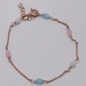 Βραχιόλι  ρόζ ασήμι 925 - br118