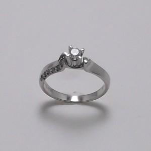 Μονόπετρο δακτυλίδι λευκό Κ18 χρυσό -mrg003