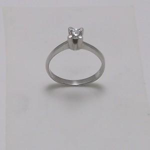 Μονόπετρο δακτυλίδι λευκό Κ18 χρυσό -mrg005