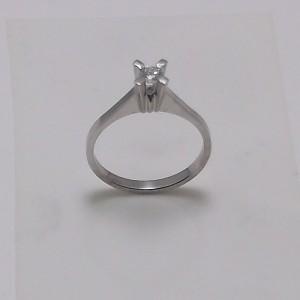Μονόπετρο δακτυλίδι λευκό Κ18 χρυσό -mrg007