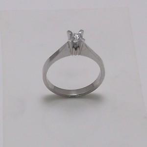Μονόπετρο δακτυλίδι λευκό Κ18 χρυσό -mrg008
