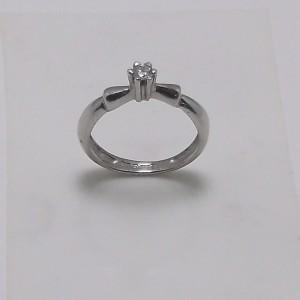 Μονόπετρο δακτυλίδι λευκό Κ18 χρυσό -mrg012