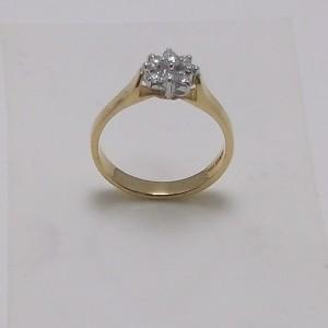 Δακτυλίδι κίτρινο + λευκό Κ18 χρυσό - rgg014