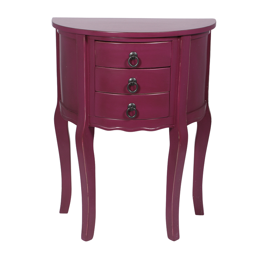 Mulberry Wood 3 Drawer Half Moon Table Greens Home And Garden