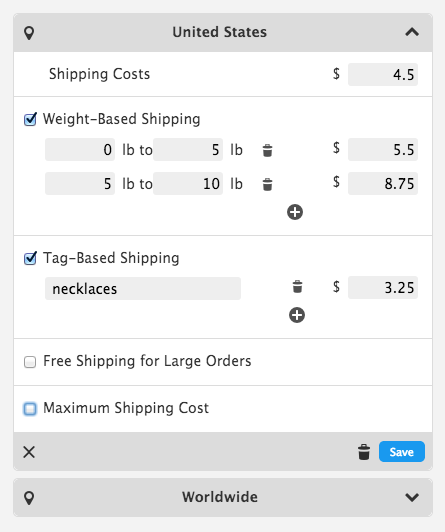 Jimdo's new shipping feature makes it possible to select multiple shipping destinations and set up robust shipping cost rules.