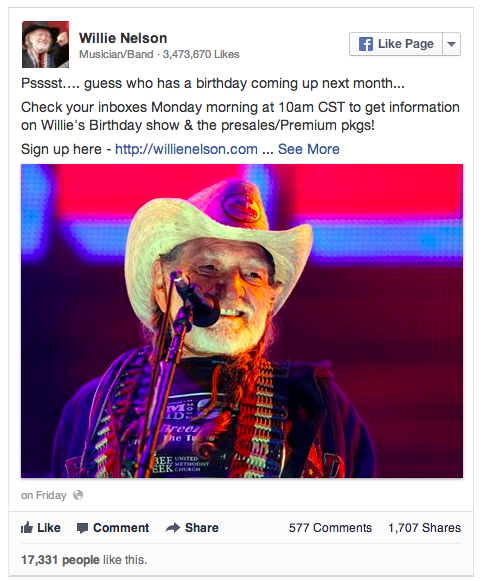 Wille Nelson's birthday Facebook post