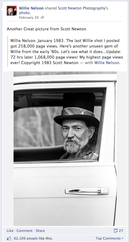 Willie Nelson and Facebook shares