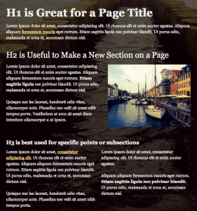 Example of using headings on a web page