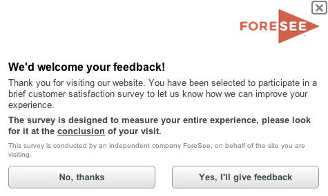 Foresee feedback survey