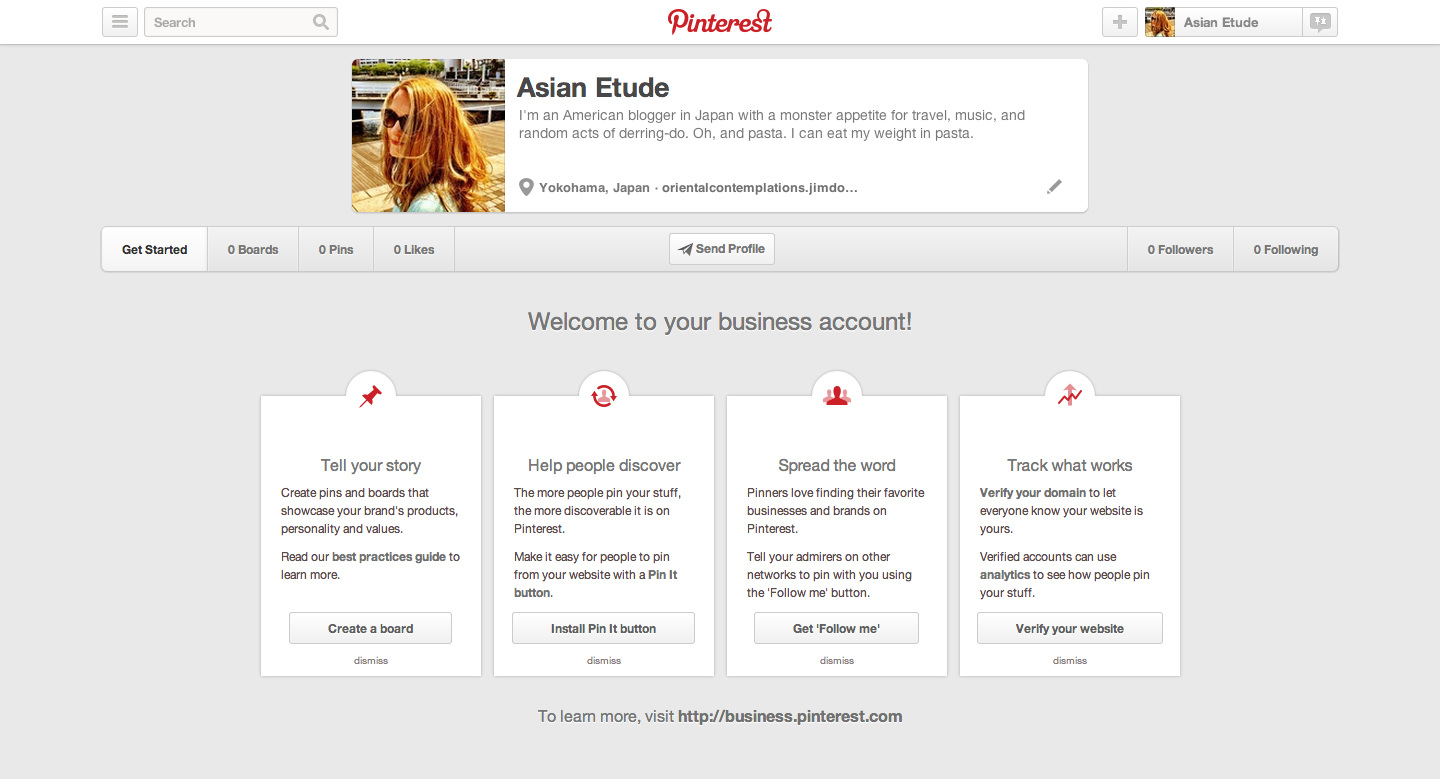 Pinterest business account 'Get Started' page