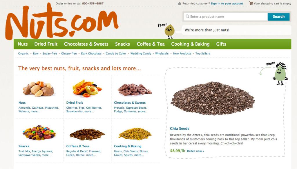 Nuts.com has cute talking nuts as mascots.