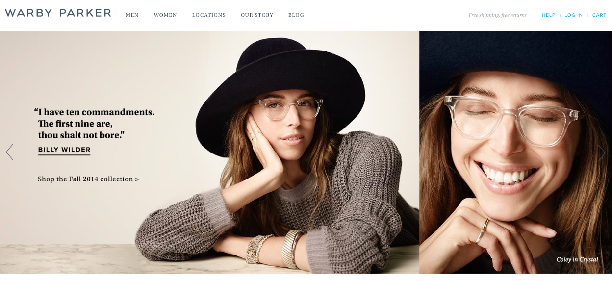 An example from the top of the Warby Parker homepage